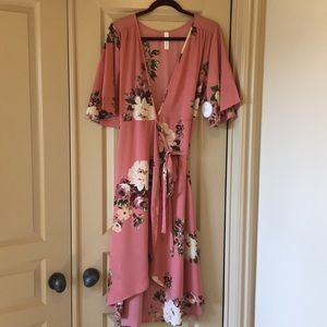 Peppermint - dusty pink rose floral dress